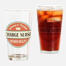 charge nurse vintage logo Drinking Glass
