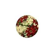Vintage poinsettia and holly Mini Button
