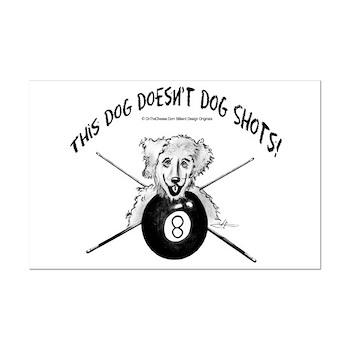8 Ball Pool Playing Dog Cartoon Poster
