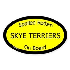 Spoiled Skye Terriers On Board Oval Decal