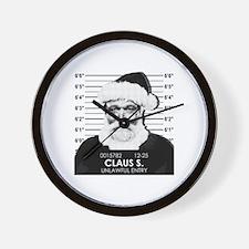 Santa Mugshot Wall Clock