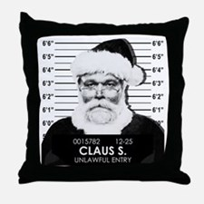 Santa Mugshot Throw Pillow