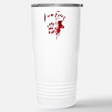 blood Splatter I Am Fin Stainless Steel Travel Mug