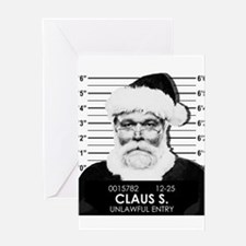 Santa Mugshot Greeting Cards