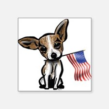 "Cute Chihuahua 4th of july Square Sticker 3"" x 3"""