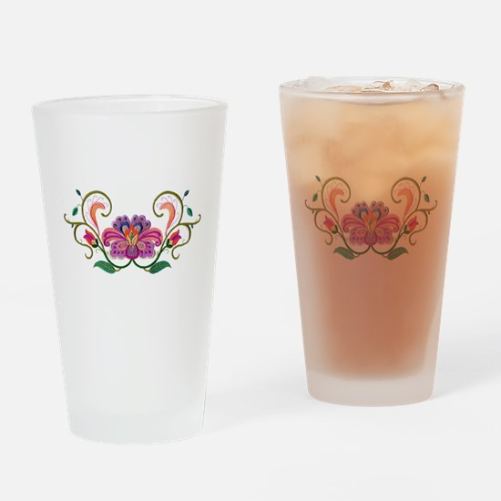 Floral Embroidery Drinking Glass