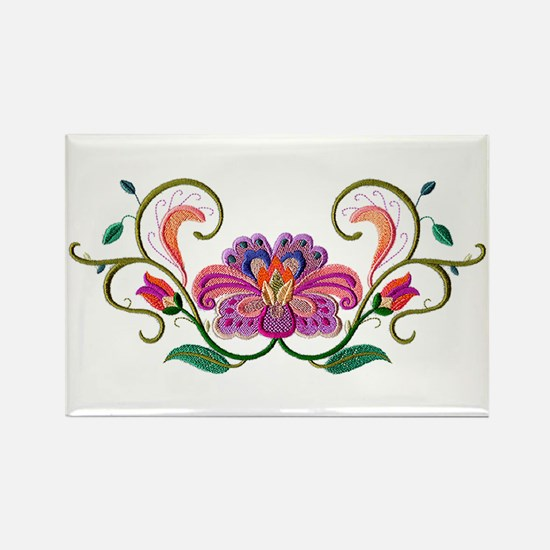 Floral Embroidery Rectangle Magnet