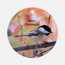 Autumn Chickadee Round Ornament