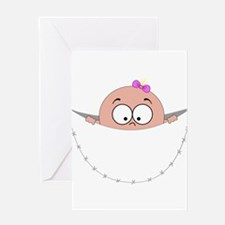 peek a boo baby girl pregnant pregn Greeting Cards
