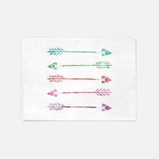 Rainbow Watercolor Arrows 5'x7'Area Rug