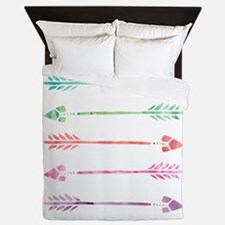Rainbow Watercolor Arrows Queen Duvet