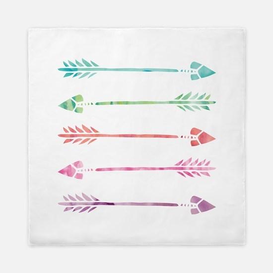 Rainbow Watercolor Arrows Queen Duvet