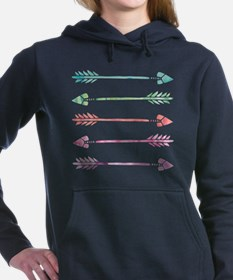 Rainbow Watercolor Arrow Women's Hooded Sweatshirt