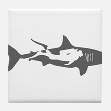 shark scuba diver hai taucher diving Tile Coaster