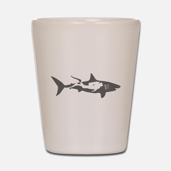 shark scuba diver hai taucher diving Shot Glass