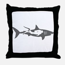 shark scuba diver hai taucher diving Throw Pillow