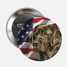 Chocolate Lab USA Flag Button