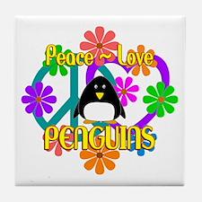 Peace Love Penguins Tile Coaster