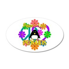 Peace Love Penguins Wall Decal
