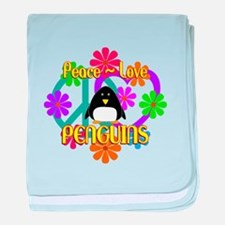 Peace Love Penguins baby blanket