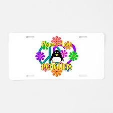 Peace Love Penguins Aluminum License Plate