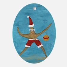 Christmas Starfish Oval Ornament