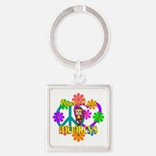 Peace Love Monkeys Square Keychain