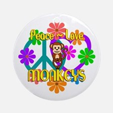 Peace Love Monkeys Round Ornament