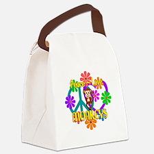 Peace Love Monkeys Canvas Lunch Bag