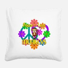 Peace Love Monkeys Square Canvas Pillow