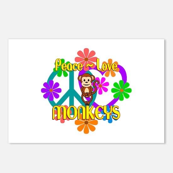 Peace Love Monkeys Postcards (Package of 8)