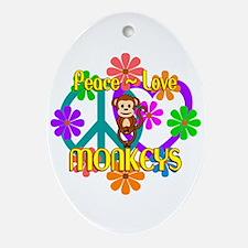 Peace Love Monkeys Oval Ornament