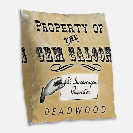 Gem Saloon Deadwood Burlap Throw Pillow