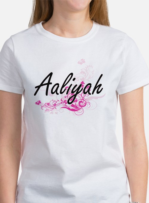 Aaliyah Artistic Name Design with Flowers T-Shirt