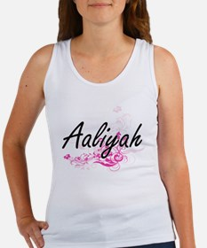 Aaliyah Artistic Name Design with Flowers Tank Top