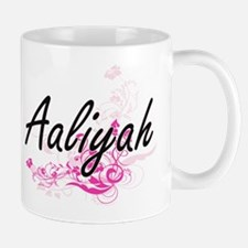 Aaliyah Artistic Name Design with Flowers Mugs