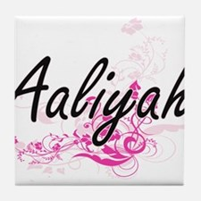 Aaliyah Artistic Name Design with Flo Tile Coaster