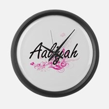 Aaliyah Artistic Name Design with Large Wall Clock