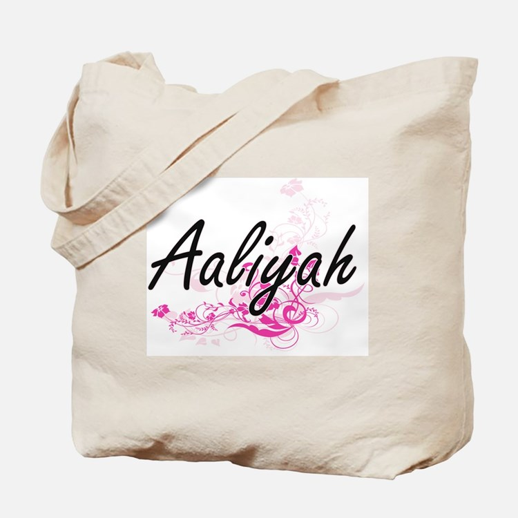 Aaliyah Artistic Name Design with Flowers Tote Bag