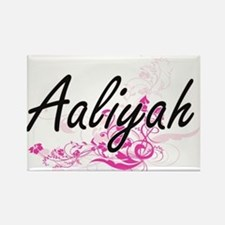 Aaliyah Artistic Name Design with Flowers Magnets