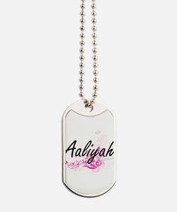 Aaliyah Artistic Name Design with Flowers Dog Tags