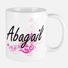 Abagail Artistic Name Design with Flowers Mugs