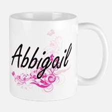 Abbigail Artistic Name Design with Flowers Mugs