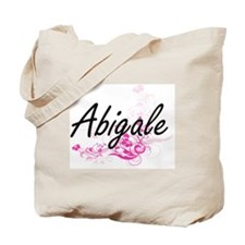 Abigale Artistic Name Design with Flowers Tote Bag