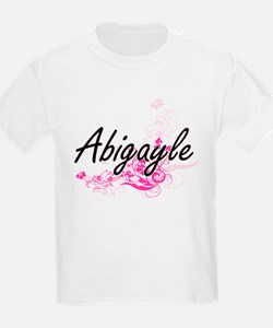 Abigayle Artistic Name Design with Flowers T-Shirt