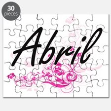 Abril Artistic Name Design with Flowers Puzzle
