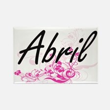 Abril Artistic Name Design with Flowers Magnets