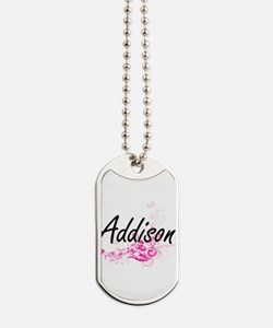Addison Artistic Name Design with Flowers Dog Tags
