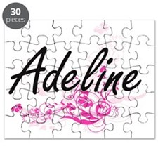Adeline Artistic Name Design with Flowers Puzzle