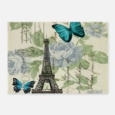 floral paris vintage eiffel tower 5'x7'Area Rug